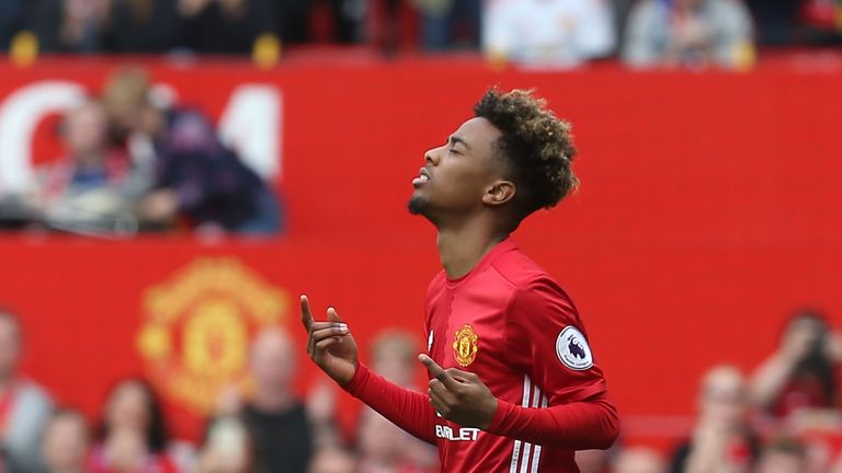 Angel Gomes made his Manchester United  Premier League debut on Sunday