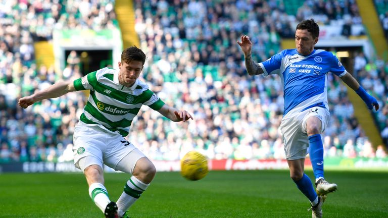 Anthony Ralston is closed down by Danny Swanson