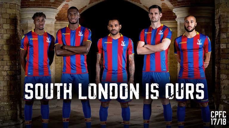 Crystal Palace players (left to right) Wilfried Zaha, Christian Benteke, Jason Puncheon, Scott Dann and Andros Townsend, model their new home kit