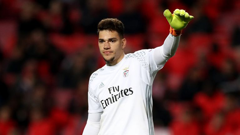 Ederson in Champions League action for Benfica earlier this season