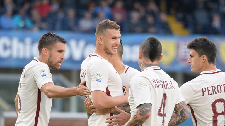 Former Manchester City striker Edin Dzeko was on the scoresheet as Roma kept their slim Serie A title hopes alive