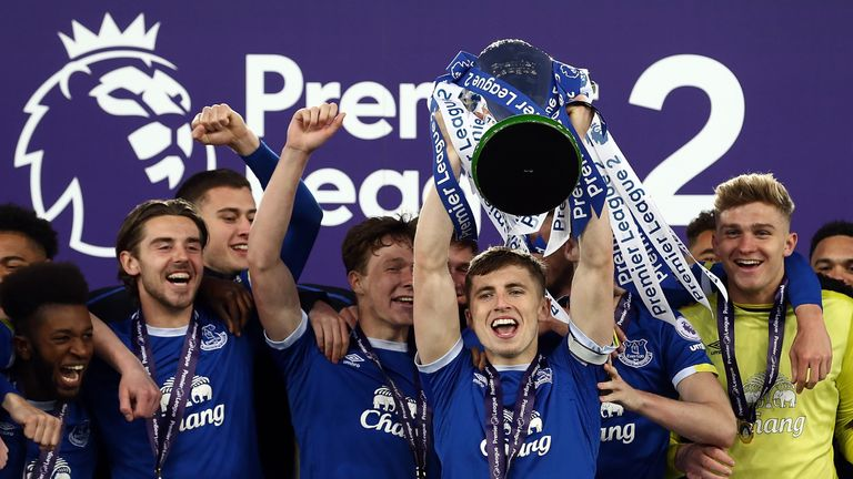 Everton lifted the Premier League 2 title after defeat by Liverpool