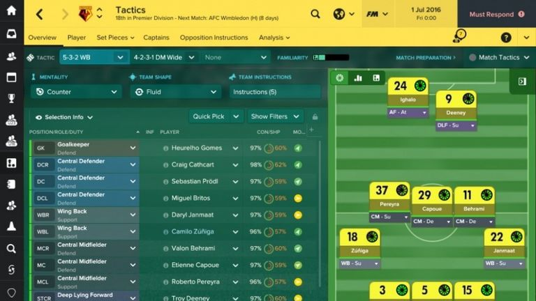 Football Manager 2017 offers a wide variety of tactical options for players