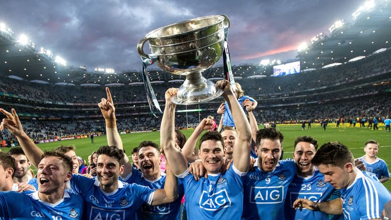 Dublin's Diarmuid Connolly celebrates with the Sam Maguire after their All-Ireland final win over Mayo last September