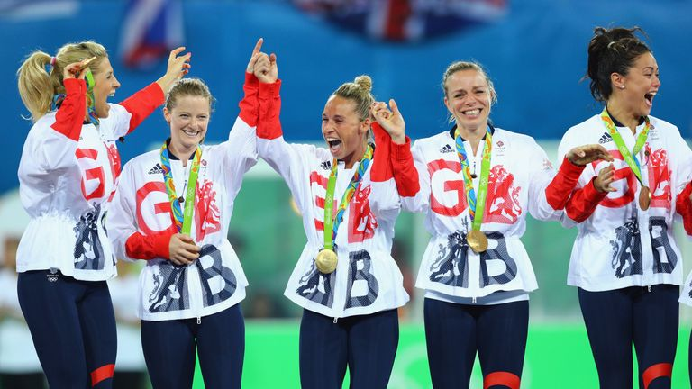 Helen and Kate celebrate their Rio victory last August with team-mates Georgie Twigg, Susannah Townsend and Sam Quek