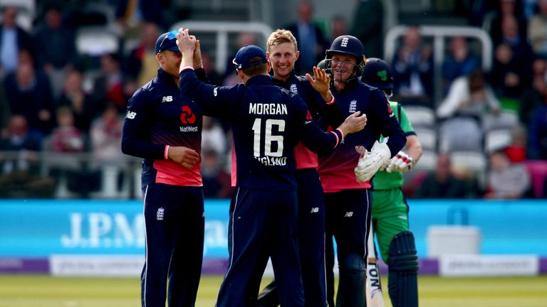 Joe Root is congratulated after taking one of his five wickets against Ireland in the recent series