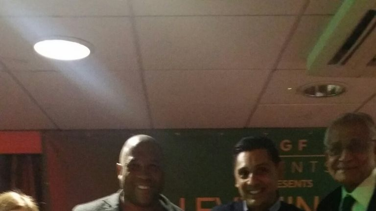 John Barnes was presented with a shirt at Indian Gymkhana