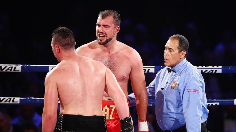 Razvan Cojanu (red trunks) proved an awkward opponent for Joseph Parker