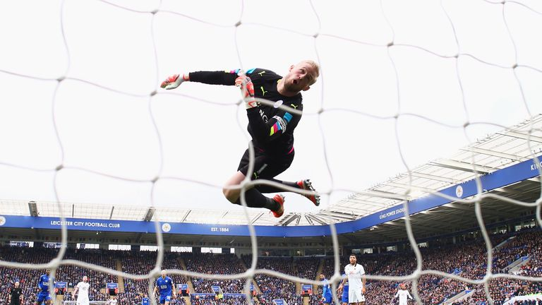 Kasper Schmeichel scooped an awards double for Leicester