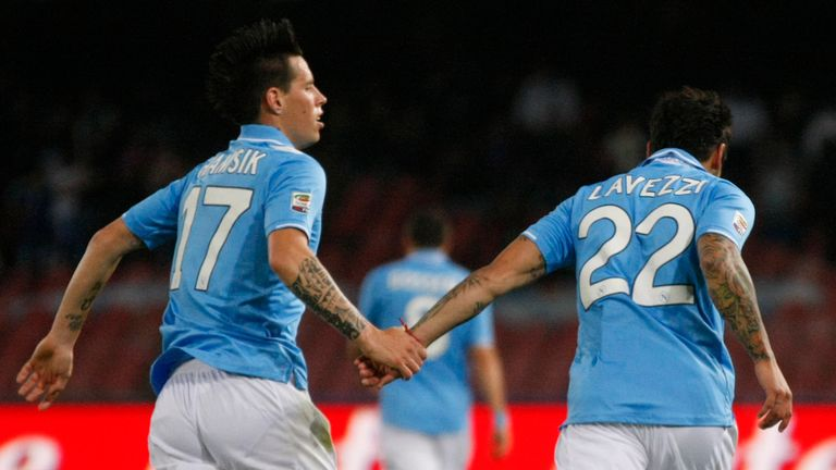 Hamsik joined Napoli on the same day as Ezequiel Lavezzi