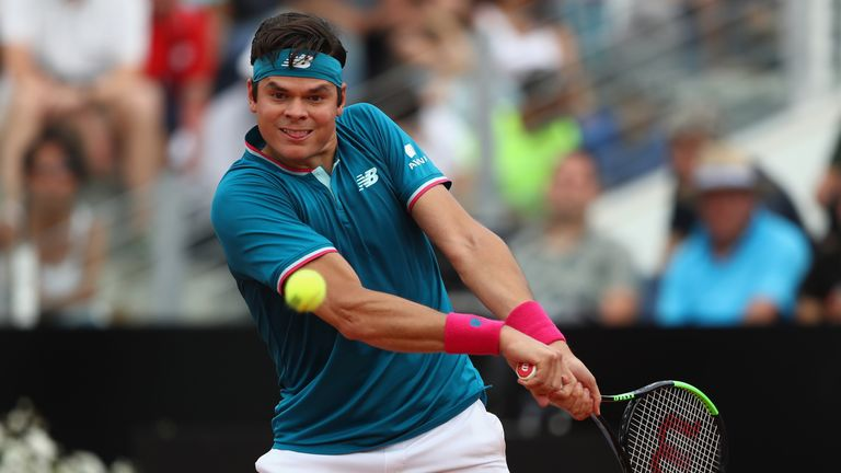 Milos Raonic will face Tomas Berdych after winning his second round lash with Tommy Haas in Rome