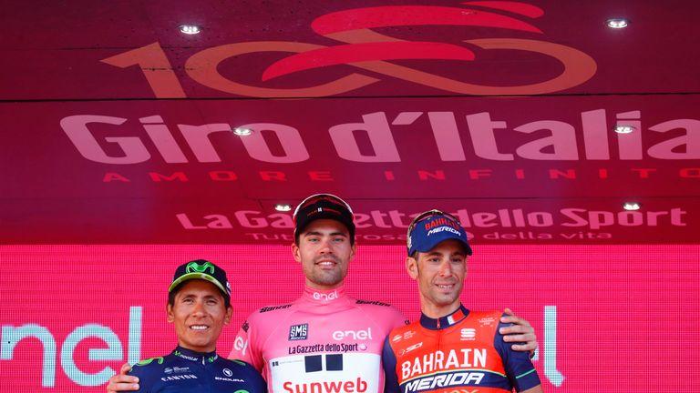 Nairo Quintana and Vincenzo Nibali joined Dumoulin on the podium