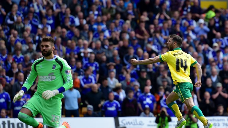 Wes Hoolahan celebrates scoring against Ipswich