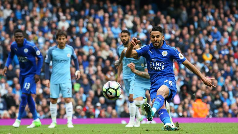 Mahrez kicked the ball against his standing foot when he took his penalty