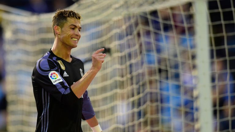 Cristiano Ronaldo gestures after missing a goal opportunity