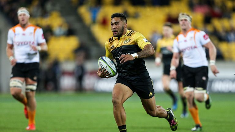 Vince Aso scored three of the Hurricanes' nine tries in Wellington