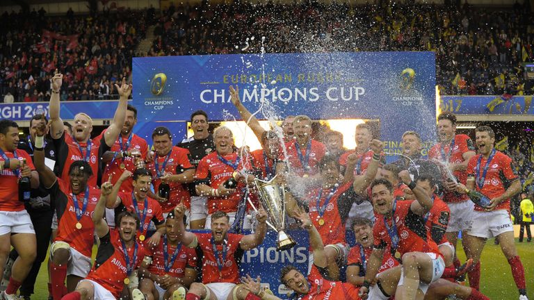 Saracens celebrate their 2016/2017 Champions Cup victory