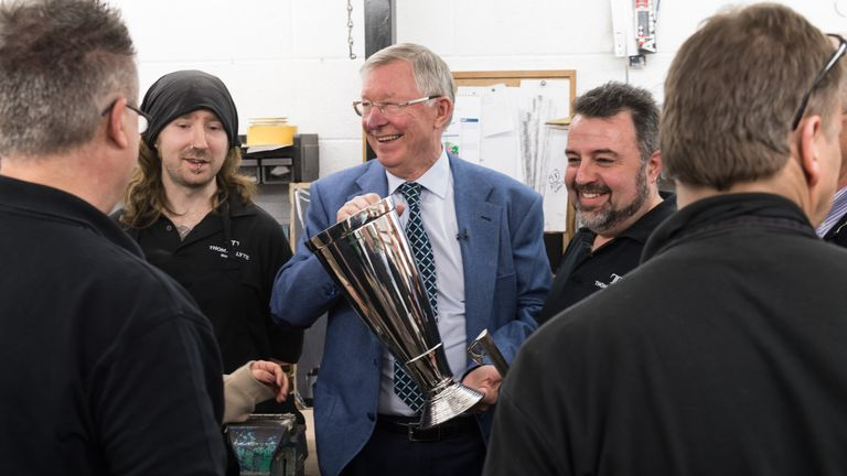 Sir Alex Ferguson visited the Thomas Lyte workshop where the trophy was made