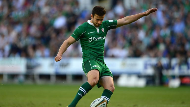 Tommy Bell successfully converts one of Irish's six tries on the night