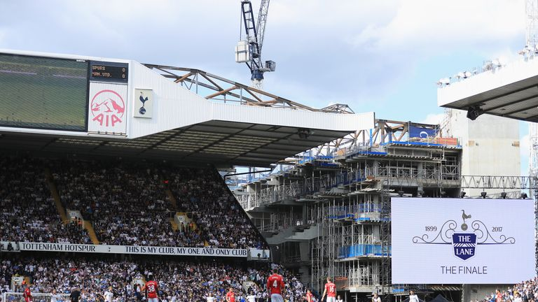 The new White Hart Lane is visible from the old stadium