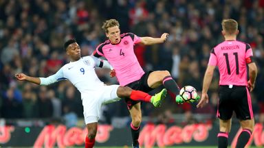 Christophe Berra holds off Daniel Sturridge at Wembley, a game which saw England beat Scotland 3-0