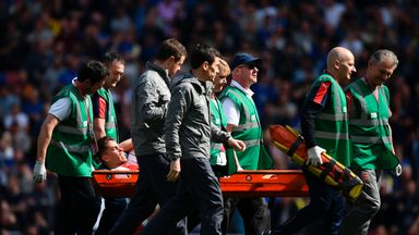 Gabriel Paulista was stretchered off injured during Arsenal's 3-1 win over Everton