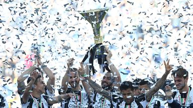 Juventus celebrate with the trophy after beating Crotone 3-0 to win Serie A