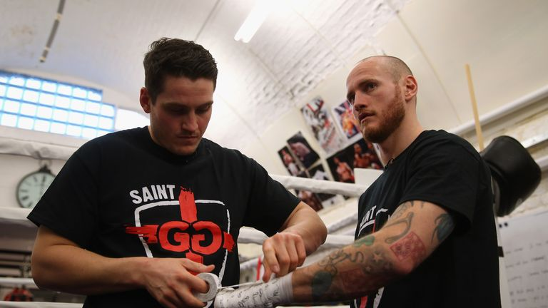 LONDON, ENGLAND - JANUARY 26:  George Groves prepares to work out with new coach Shane McGuigan during a media workout ahead of his clash with Andrea di Lu