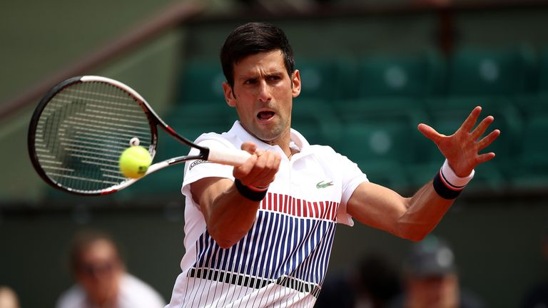 PARIS, FRANCE - MAY 29: Novak Djokovic of Serbia hits a forehand during the first round match against Marcel Granollers of Spain on day two of the 2017 Fre