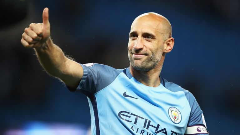Pablo Zabaleta shows his appreciation to Manchester City fans after their 3-1 win against West Brom
