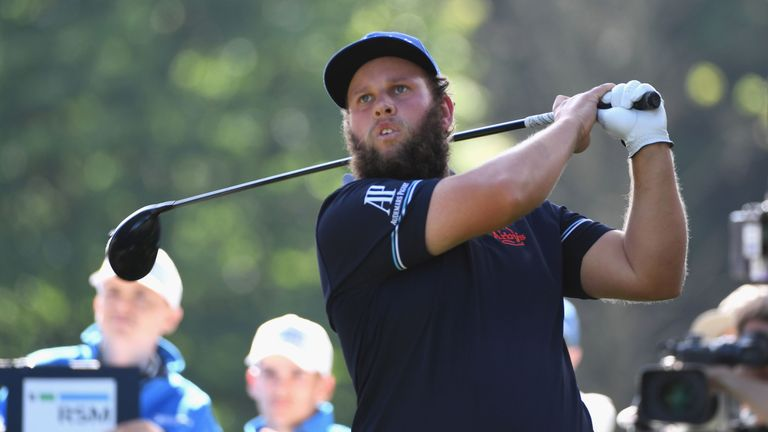 Andrew Johnston of England tees off on the 17th hole during day three of the BMW PGA Championship at Wentworth