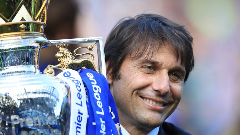 File photo dated 21-05-2017 of Chelsea manager Antonio Conte with the Premier League Trophy.