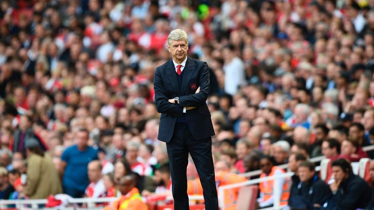 Arsene Wenger looks on from the touchline at the Emirates Stadium