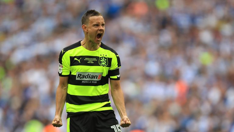 Huddersfield Town's Chris Lowe celebrates scoring from the penalty spot during the Sky Bet Championship play-off final at Wembley Stadium, London.