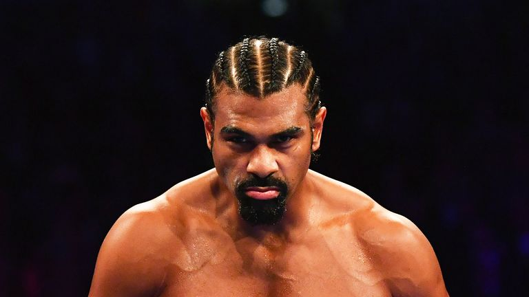 David Haye looks on prior to his heavyweight contest against Tony Bellew at The O2 Arena