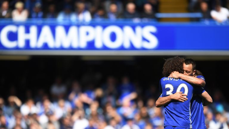 David Luiz embraces John Terry as he leaves the pitch during his final game for Chelsea