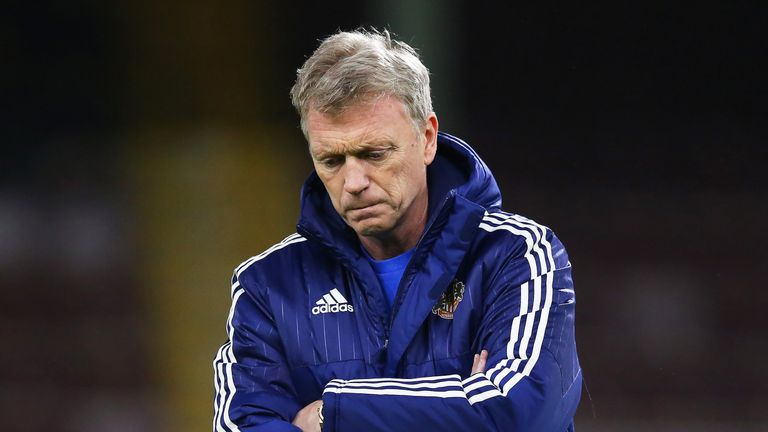 David Moyes during the warm up prior to the FA Cup third round replay between Burnley and Sunderland