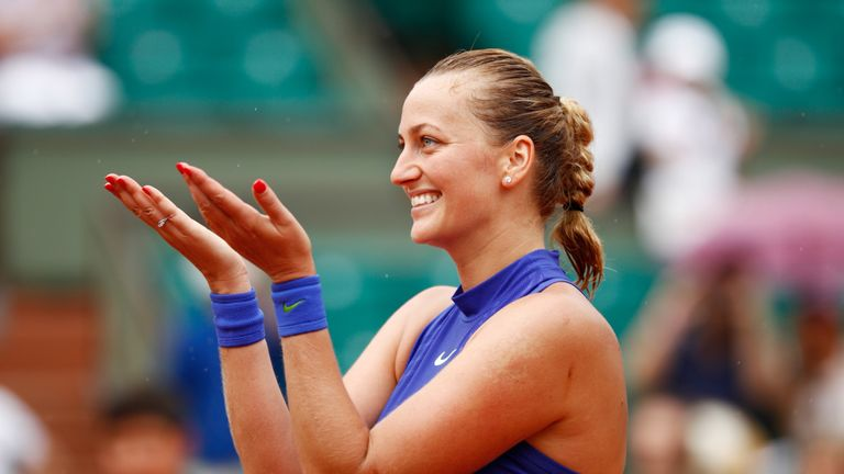 Petra Kvitova of the Czech Republic celebrates following her victory during the ladies singles first round match at the French Open 2017