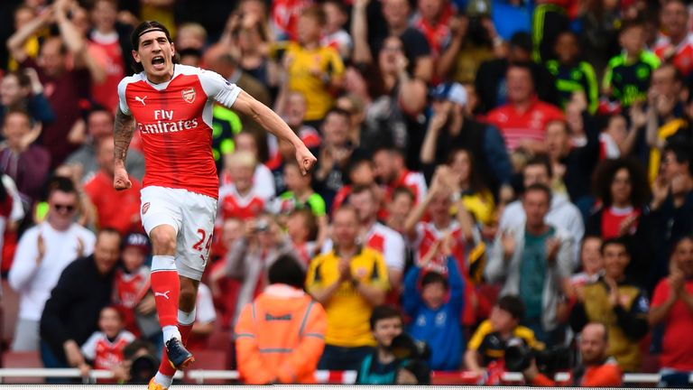 Hector Bellerin celebrates the opening goal at the Emirates Stadium