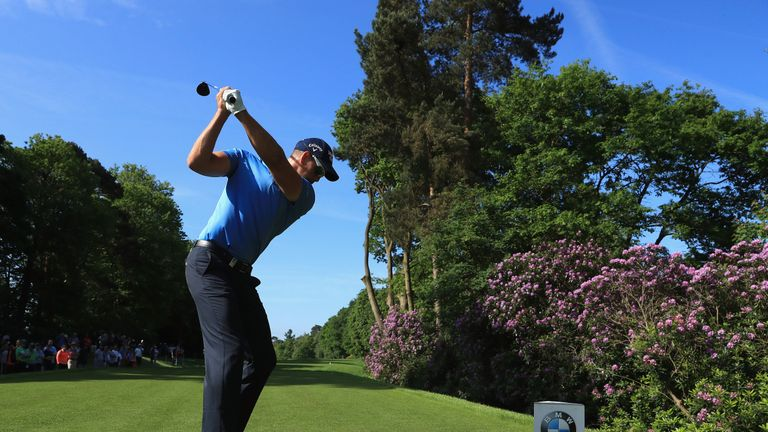 VIRGINIA WATER, ENGLAND - MAY 24:  Henrik Stenson tees off on the 4th  during the BMW PGA Championship Pro-AM at Wentworth on May 24, 2017 in Virginia Wate