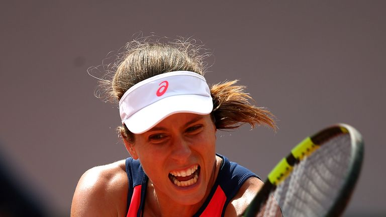 PARIS, FRANCE - MAY 30:  Johanna Konta of Great Britain hits a backhand during the first round match against Su-Wei Hsieh of Taipei on day three of the 201