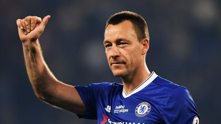 John Terry shows appreciation to fans after the match against Watford at Stamford Bridge