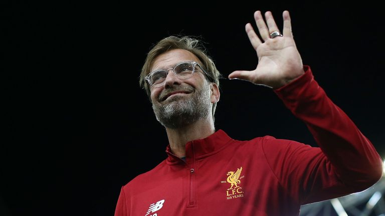 Liverpool manager Jurgen Klopp waves to fans before the friendly between Sydney FC and Liverpool