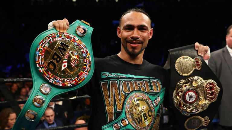 Keith Thurman celebrates his split decision win against Danny Garcia after their WBA/WBC Welterweight unification Championship bout