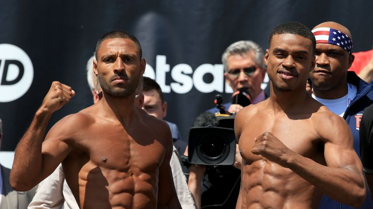 Kell Brook (left) and Errol Spence Jnr during the weigh-in at Sheffield City Hall.