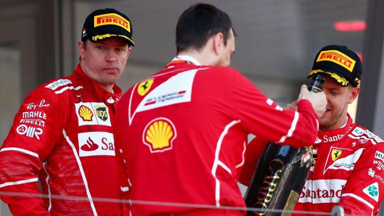 MONTE-CARLO, MONACO - MAY 28: Kimi Raikkonen of Finland and Ferrari on the podium during the Monaco Formula One Grand Prix at Circuit de Monaco on May 28,