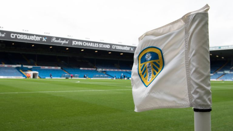LEEDS, ENGLAND - FEBRUARY 25: Leeds United corner flag before the Sky Bet Championship match between Leeds United and Sheffield Wednesday at Elland Road on