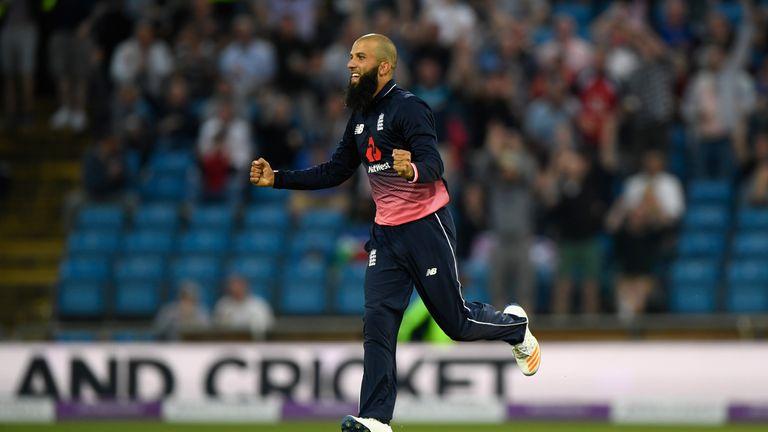 England bowler Moeen Ali celebrates after dismissing South Africa batsman AB de Villiers