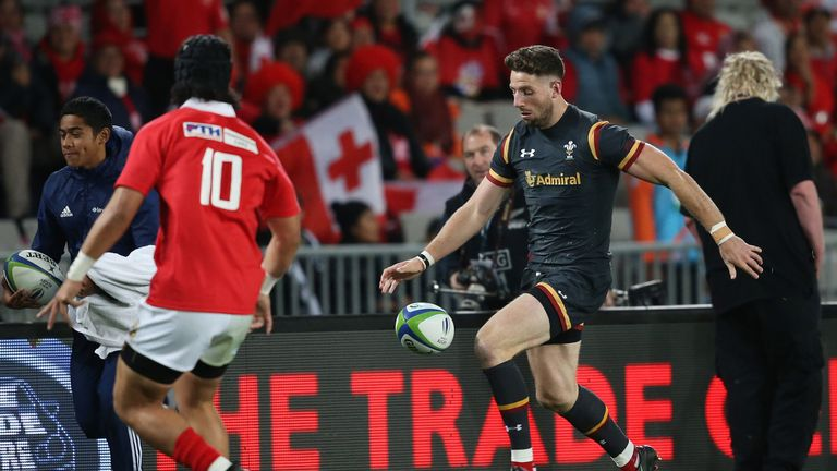 Alex Cuthbert (right) in action against Tonga in Auckland on Friday