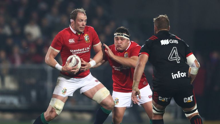 Alun Wyn Jones challenges the Crusaders defence at AMI Stadium